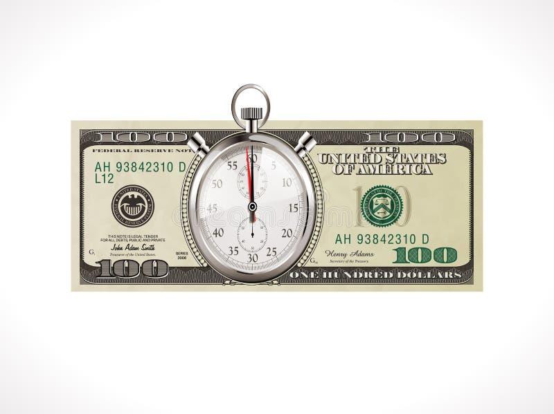 Cientos dólares - moneda de Estados Unidos - el tiempo es oro concepto libre illustration