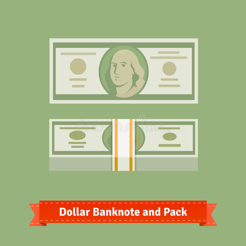 Cientos dólares paquete de billete de banco y del dinero con la correa ilustración del vector