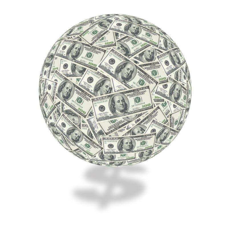 Cientos globos de la cuenta de dólar stock de ilustración