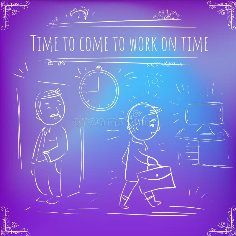 Cientos recordatorios importantes - notas - hora de venir trabajar en t ilustración del vector