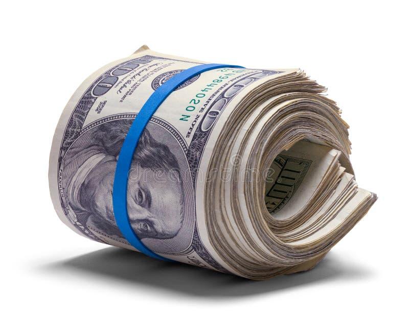 Cientos rollos del dinero del dólar fotos de archivo