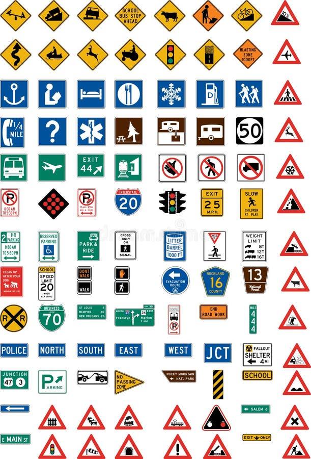 Cientos señales de tráfico ilustración del vector