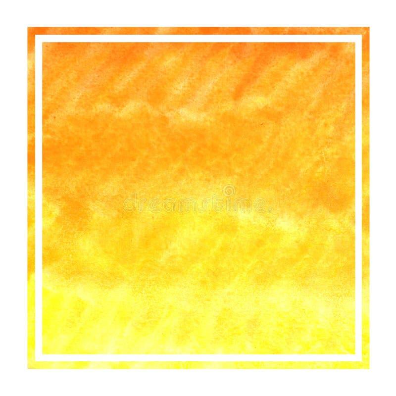 Ciepła żółta ręka rysująca akwareli tła prostokątna ramowa tekstura z plamami fotografia stock