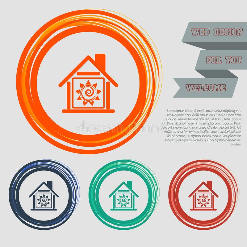 Ciepła Domowa ikona na czerwonym, błękitny, zielony, pomarańcze zapina dla twój projekta z astronautycznym tekstem i strony inter ilustracji