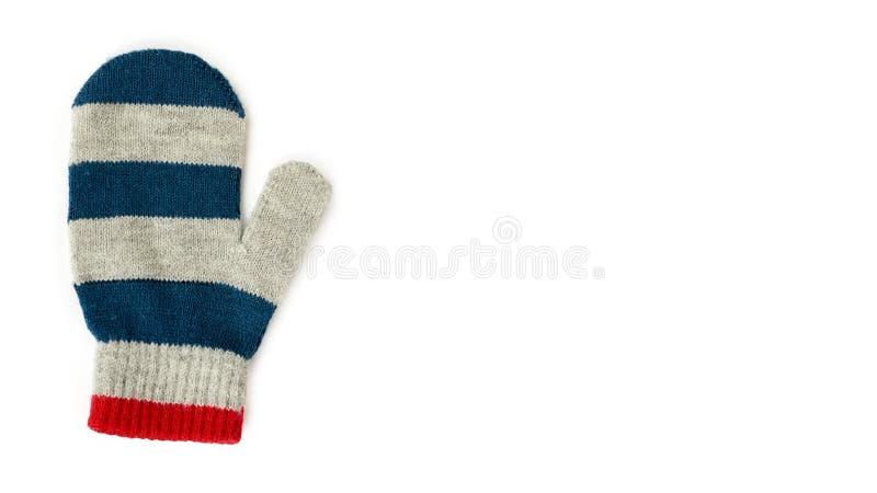 Ciepła zima children&-x27; s rękawiczki odizolowywać na białym tle Sprzedaż i zakup odbitkowa przestrzeń, szablon obrazy stock