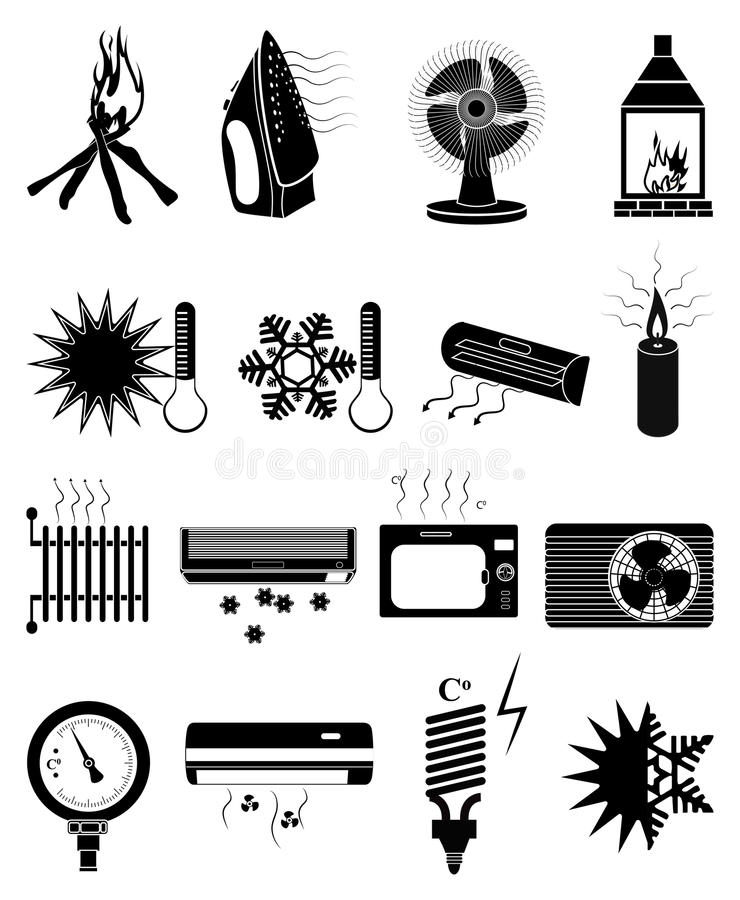 Ciepłe zimne temperaturowe ikony ustawiać royalty ilustracja