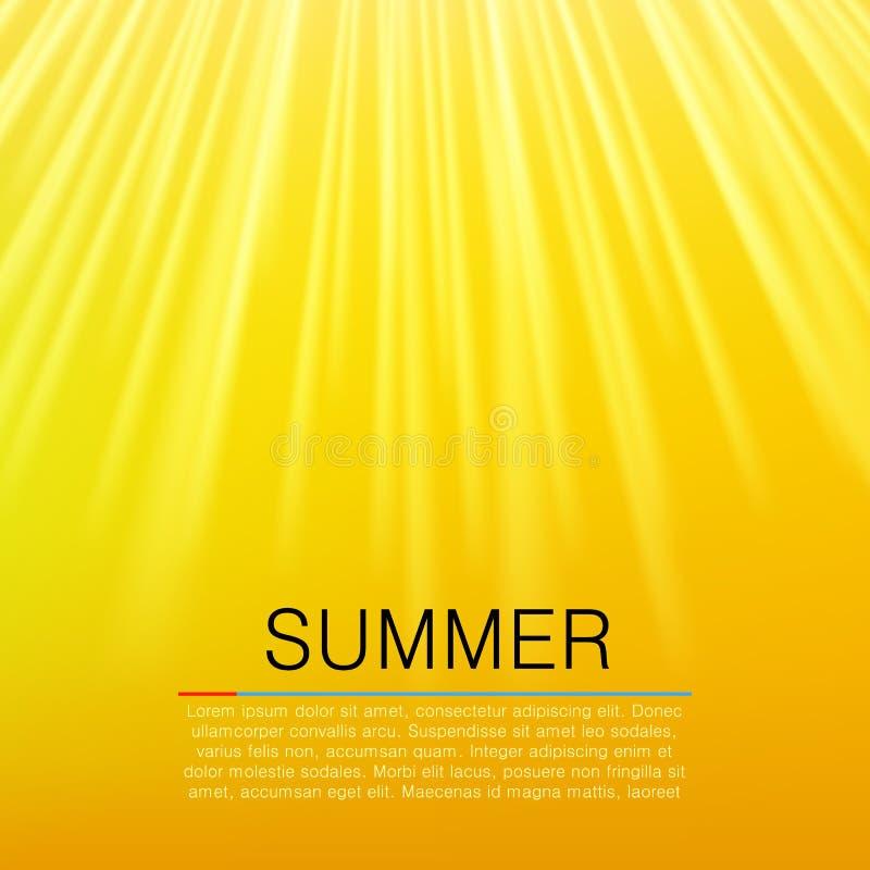 Ciepły żółty słońce promień pojęcia tła ramy piasek seashells lato wektor royalty ilustracja