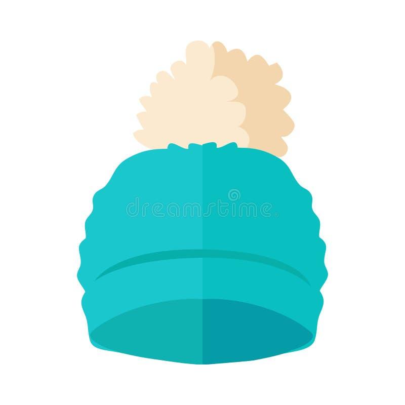 Ciepły kapelusz z Pompon projekta Płaską ilustracją royalty ilustracja