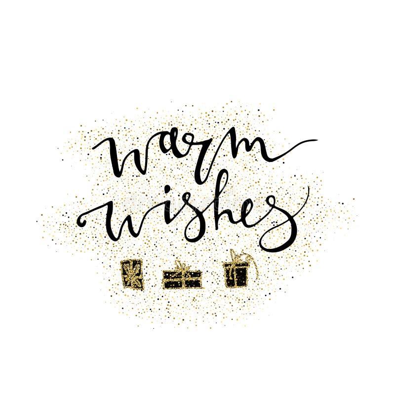 Ciepłych życzeń handmade literowanie z złocistym błyskotliwość prezentem Doskonalić dla Bożenarodzeniowych nowy rok kart, sztanda royalty ilustracja