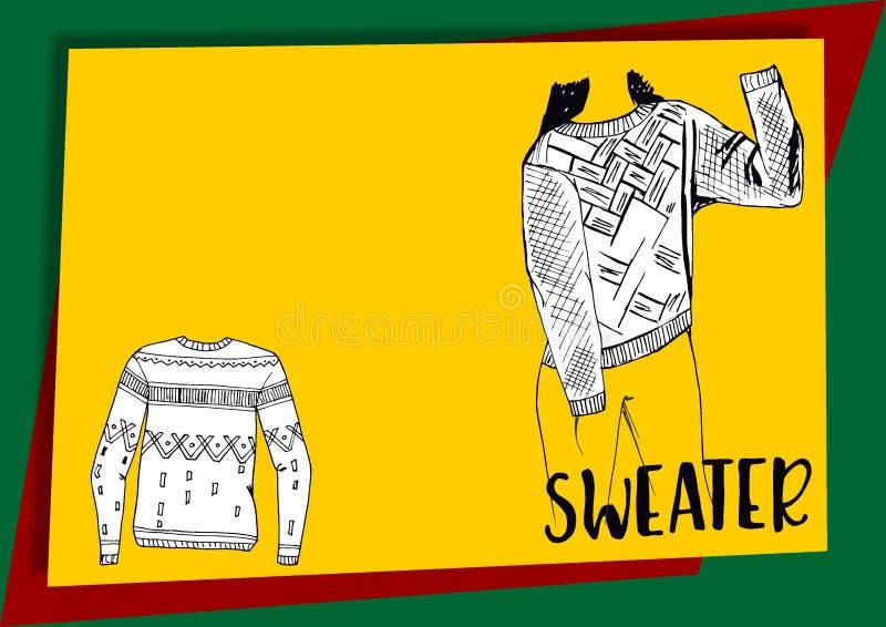 Ciep?y pulower Bluza sportowa z ornamentem Wygodny i ciepły odziewa jesie? projekta elementy ustawiaj?cy wektor royalty ilustracja