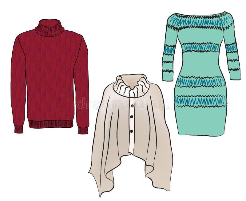 Ciepli kobiet ubrania ustawiający. ilustracji
