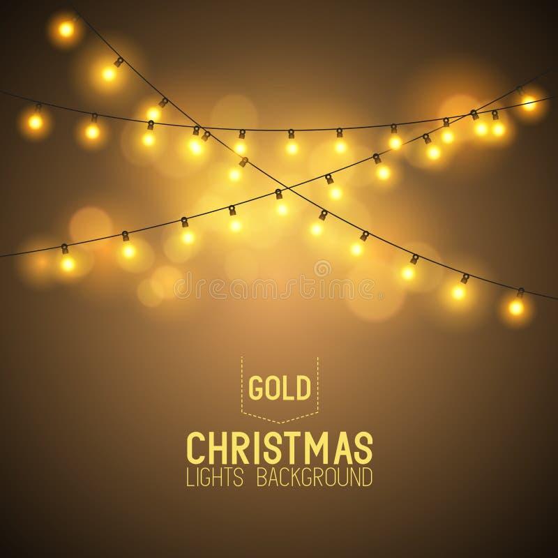 Ciepli Rozjarzeni bożonarodzeniowe światła ilustracja wektor