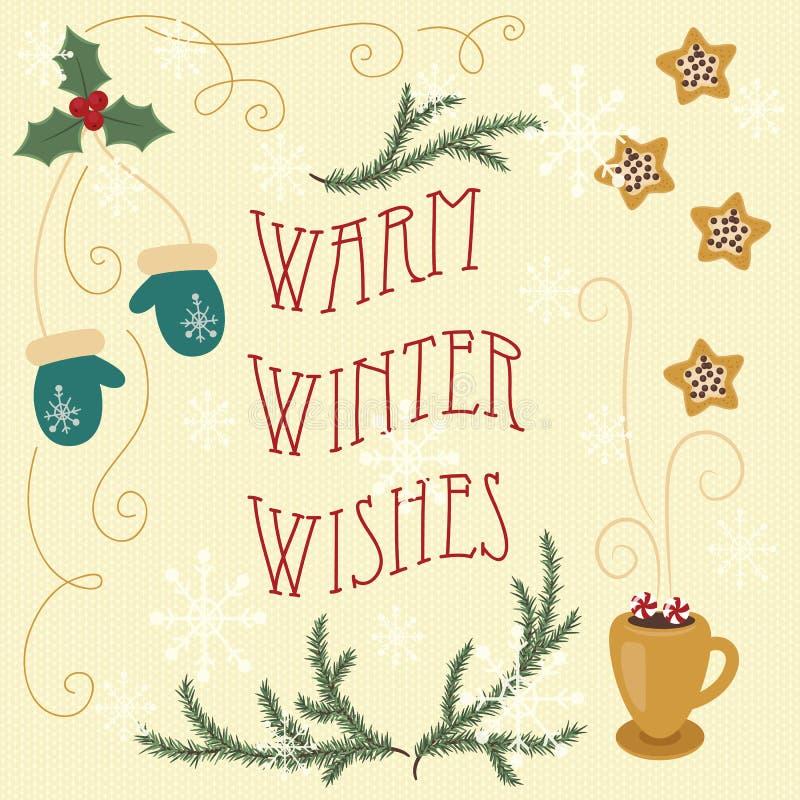 Ciepli zim życzenia Ręka rysujący kartka z pozdrowieniami royalty ilustracja