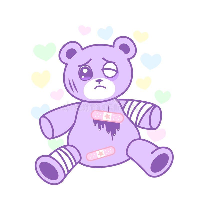 Cierpiący niedźwiedź zabawkę z zdradzonym ciała yami kawaii projektuje ilustracji