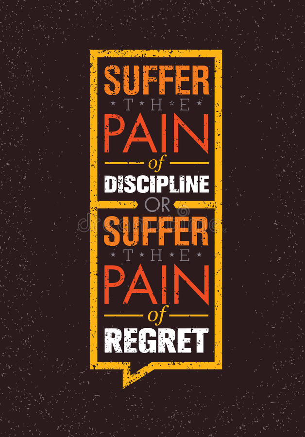 Cierpi ból dyscyplina Lub ból pożałowanie Sporta I sprawności fizycznej Kreatywnie motywaci Wektorowy projekt Gym sztandar royalty ilustracja