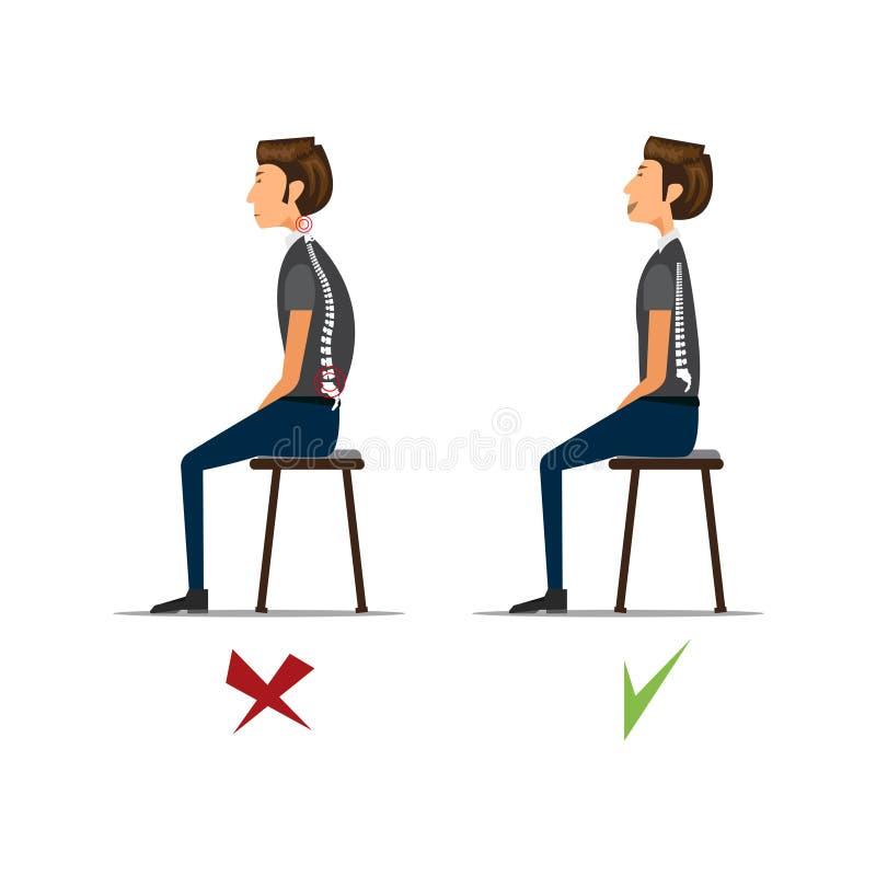 Cierpieć od backache Biznesmen przy pracą ilustracja ilustracji