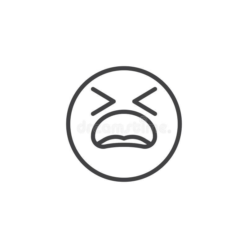 Cierpieć twarzy emoji linii ikonę royalty ilustracja