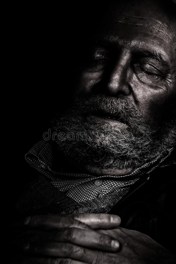 Cierpienia i samotności starsze osoby obraz stock
