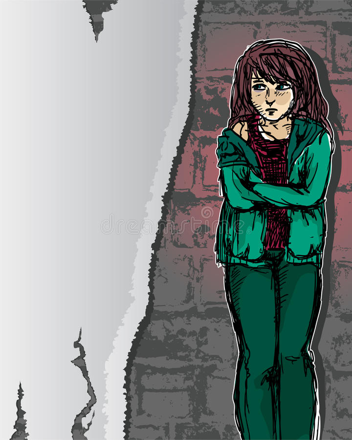 cierpienie dziewczyna ilustracja wektor