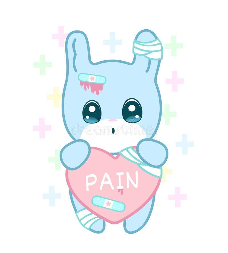 Cierpienie królik z zdradzonym ucho i złamanego serca yami kawaii projektuje ilustracji