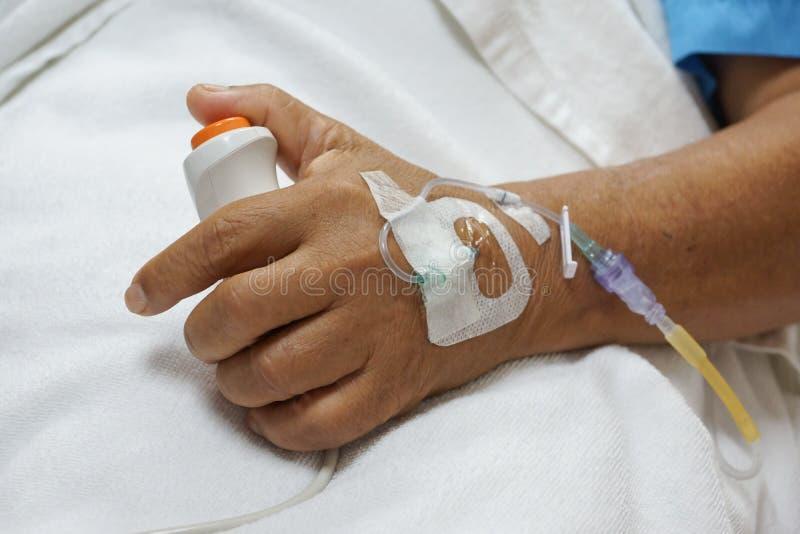 Cierpliwy odciskanie guzik dla przeciwawaryjnej pomocy zdjęcia stock