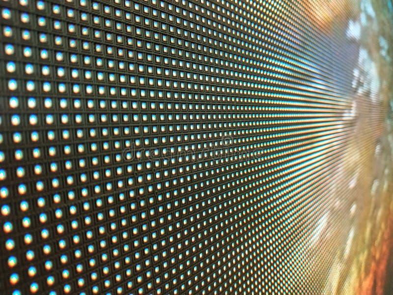 Cierre abstracto encima del fondo video coloreado brillante del extracto de la pared del LED SMD imágenes de archivo libres de regalías