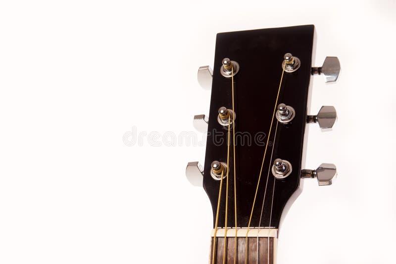 Cierre amarillo acústico eléctrico de la guitarra para arriba aislado en blanco fotografía de archivo libre de regalías