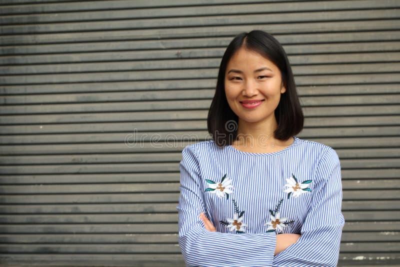 Cierre asiático elegante de la empresaria para arriba con el espacio de la copia fotos de archivo libres de regalías