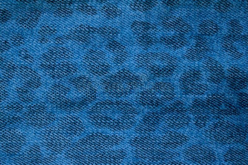 Cierre azul marino de la textura del modelo del leopardo de los vaqueros para arriba fotos de archivo