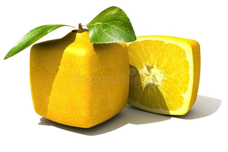 Cierre cúbico del limón para arriba ilustración del vector
