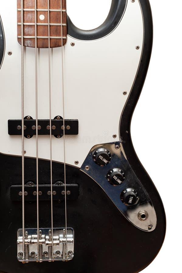 Cierre clásico del cuerpo de la guitarra baja para arriba imagen de archivo libre de regalías