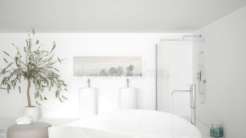 Cierre clásico moderno del cuarto de baño para arriba en la tina de baño grande, ducha grande a stock de ilustración