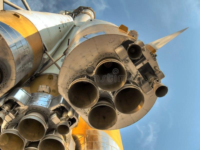 Cierre de cuatro boquillas. Cohete de espacio. foto de archivo