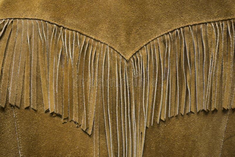 Cierre de cuero occidental de la capa de la franja del vintage para arriba imágenes de archivo libres de regalías