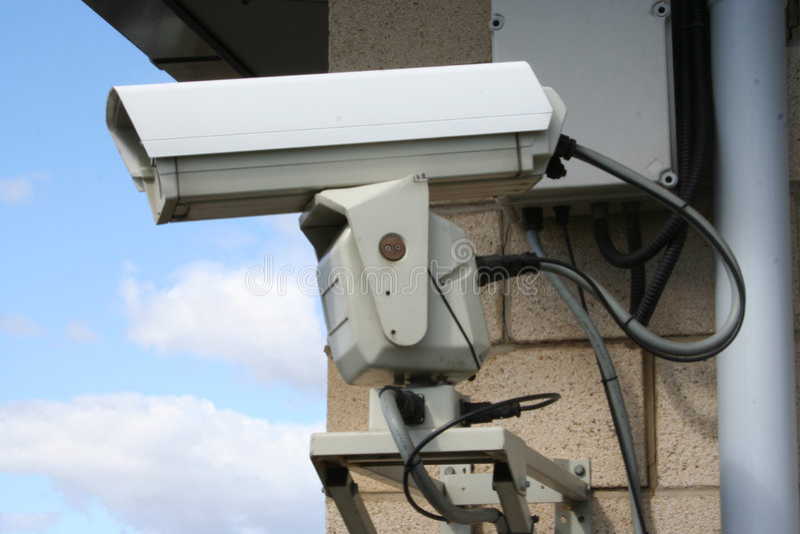 Cierre de la cámara del CCTV para arriba fotografía de archivo