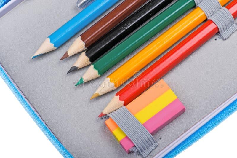 Cierre de la caja de lápiz de la escuela para arriba