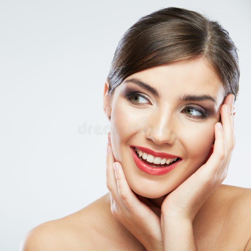 Cierre de la cara de la mujer de la belleza encima del retrato. fotografía de archivo libre de regalías