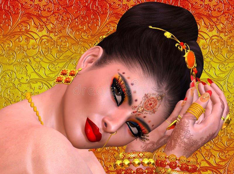 Cierre de la cara de la mujer exótica para arriba, concepto del indio, asiático o medio-oriental de la belleza fotos de archivo libres de regalías