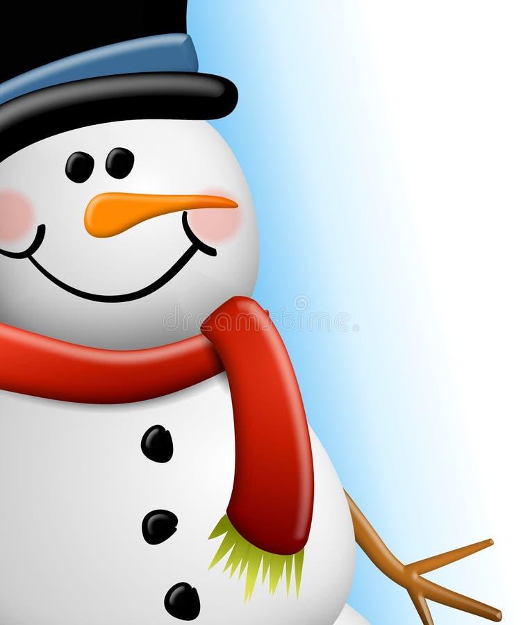 Cierre de la cara del muñeco de nieve para arriba stock de ilustración