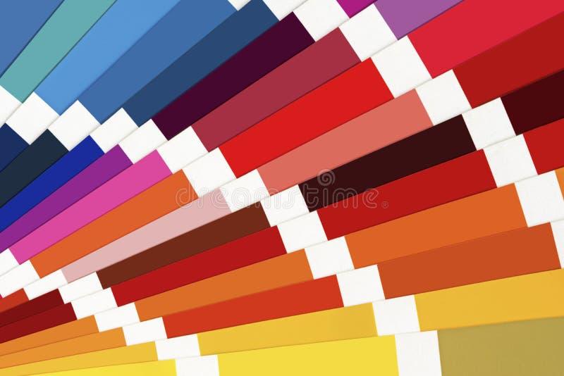 Cierre de la guía de la paleta de colores para arriba Catálogo colorido de Swatch foto de archivo libre de regalías