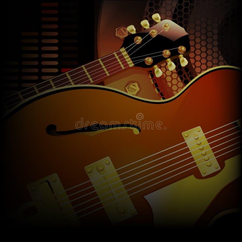 Cierre de la guitarra del jazz encima de altavoces acústicos stock de ilustración