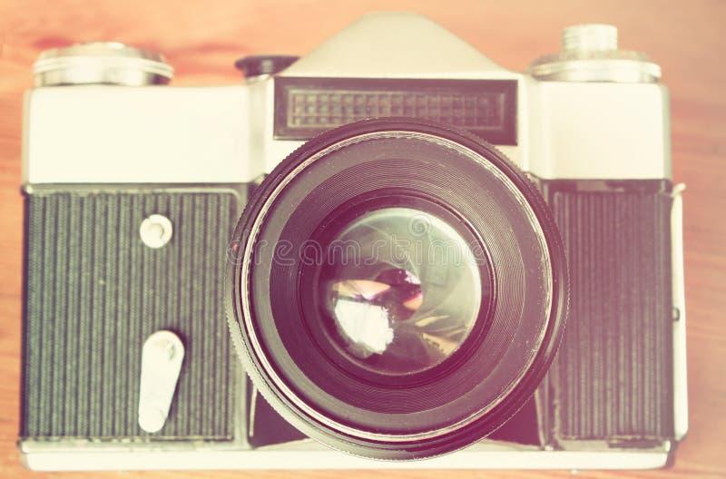 Cierre de la lente de cámara del vintage para arriba imágenes de archivo libres de regalías