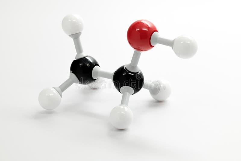 Cierre de la molécula de la química para arriba del etanol foto de archivo