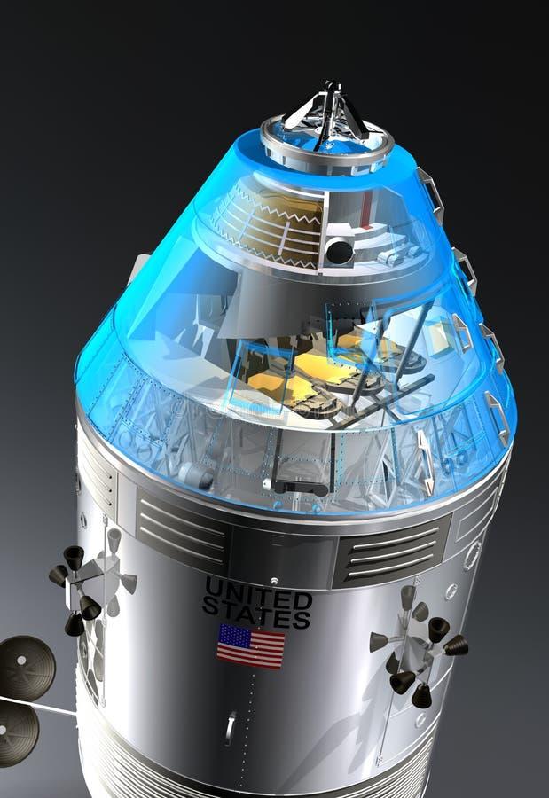 Cierre de la nave espacial de Apolo para arriba libre illustration
