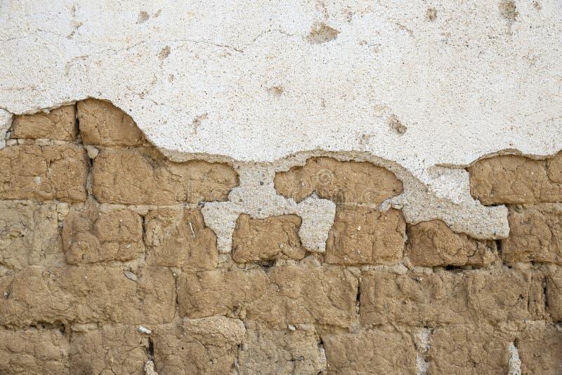 Cierre de la pared de ladrillo de Adobe para arriba fotos de archivo libres de regalías