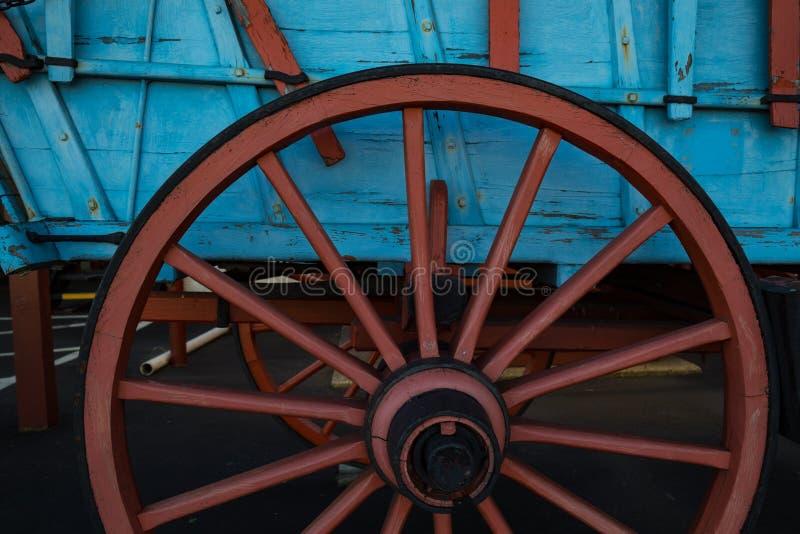 Cierre de la rueda de carro de Conestoga para arriba imagenes de archivo