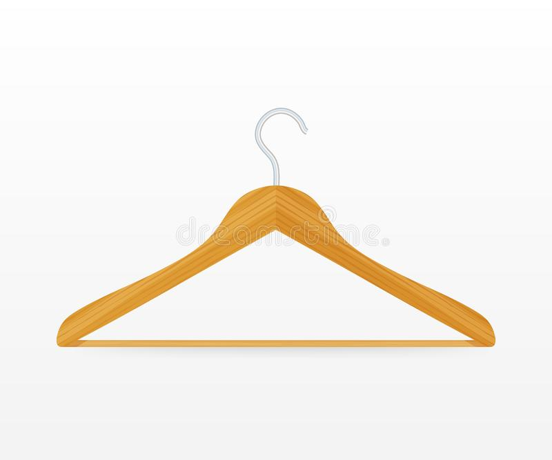 Cierre de madera de la suspensi?n del vector de la capa realista de la ropa para arriba aislado en el fondo blanco Ilustraci?n co stock de ilustración