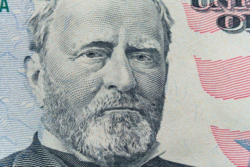 Cierre de presidente Ulysses S La cara de Grant aparece en la cuenta $50 fotos de archivo libres de regalías