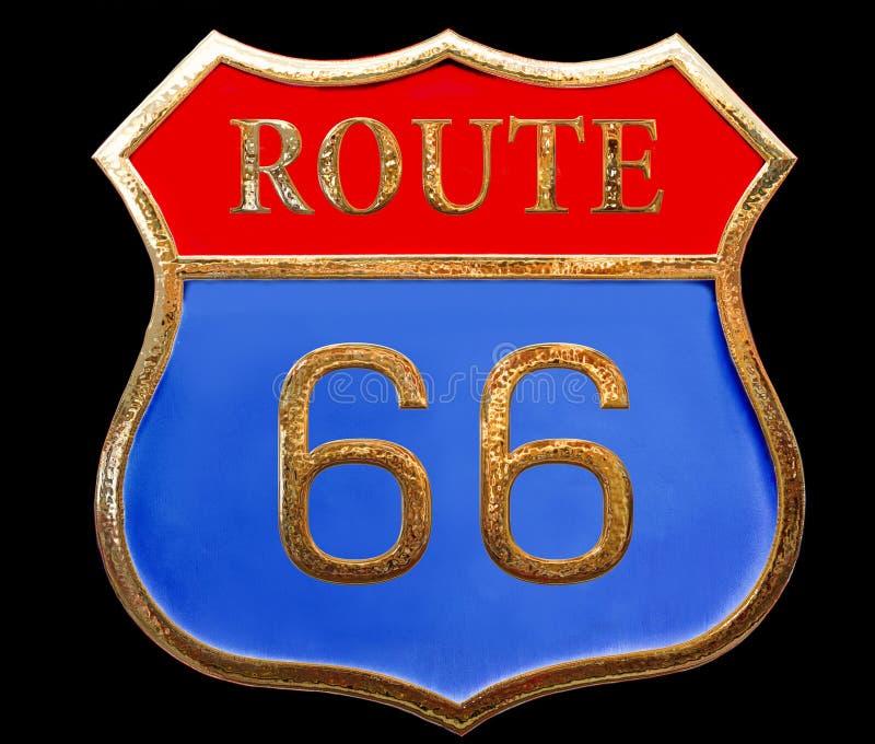 Cierre de un estado a otro de la ruta 66 de la señal de tráfico de oro del vintage para arriba aislado en fondo negro ilustración del vector