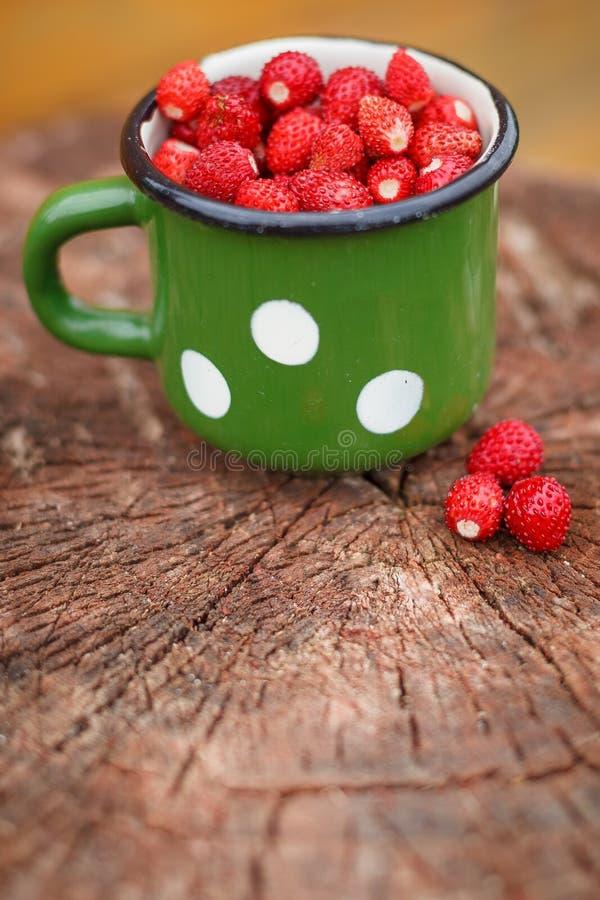 Cierre de un vaso retro de metal lleno de fresas orgánicas frescas en madera vieja Tentempiés saludables y comida de verano fotografía de archivo